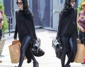 ON SALE Kat Von D wears Babooshka Banded Arch Caftan Midi Maxi Dress - Black on Black - Long Sleeve Minimal Oversized Tunic Katvond look #kv