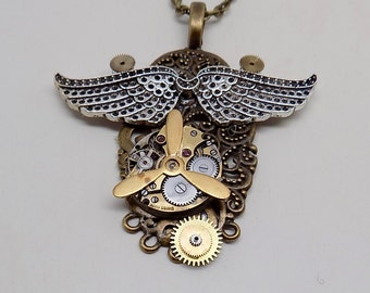 Steampunk necklace. Steampunk pendant.