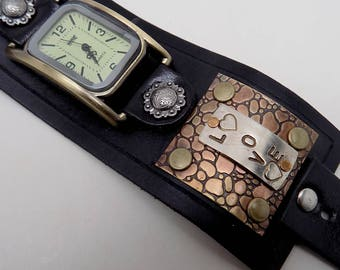 Steampunk wrist watch. Men watch. Quartz watch. Biker watch
