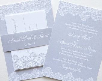 Lace Wedding Invitation - Vintage Wedding Invite