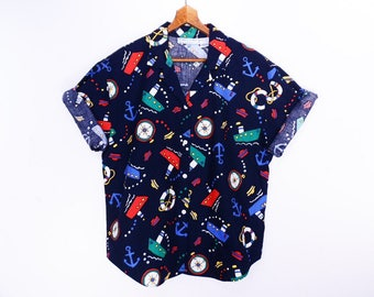 80's vintage NAUTICAL camp shirt  // navy blue // novelty boat print // oxford cotton camp shirt // women's 14 // made in USA // size L