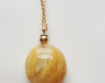 A Lovely Crystal Citrine Swirl Necklace with 14kt Gold Filled Chain and Findings
