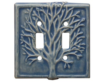 Tree Ceramic Light Switch Cover- double toggle in light blue glaze