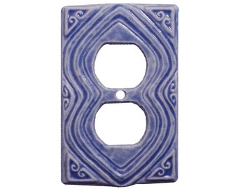 Moroccan Duplex Outlet Cover in Light Blue Glaze