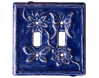 Ceramic Art Light Switch Cover- Flowers and Wings Double Toggle Switch Plate in Sapphire blue glaze