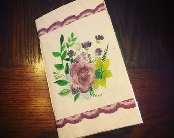 Blossoms and Lace - 40 page tree free handmade paper journal - sketchbook - blank book - unlined