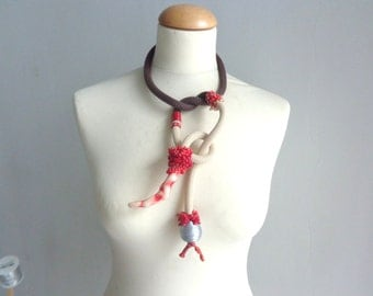 rope lariat necklace, coral necklace, coral statement, coral branch necklace, long ball necklace, colorful necklace