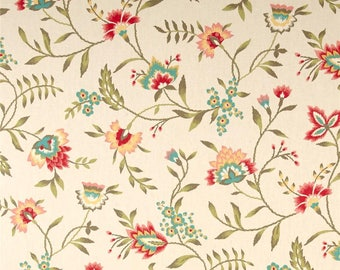 Floral Shaped Valance - Lined - Waverly Carolina Crewel Bloom Fabric
