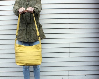 Leather Shoulder Handbag Purse in Yellow