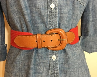 90s Lands End Classic Red Cotton Brown Leather Belt, size Large to XL
