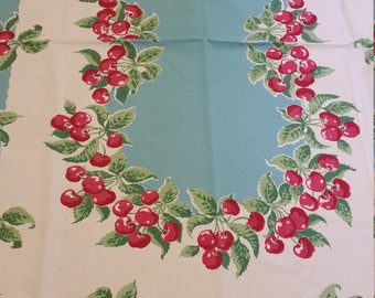 exquisite cherries vintage table cloth