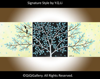 "Abstract birds painting Set of 3 Acrylic Impasto canvas art wall decor wall hanging blue yellow black ""Life Is Beautiful"" by qiqigallery"