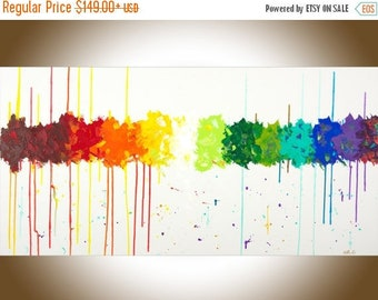 Colorful art large wall art modern abstract painting on canvas red yellow orange green blue home decor wall hanging by qiqigallery