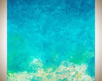 Turquoise Blue Abstract seascape square art painting on canvas wall art wall Decor home decor wall hanging blue green white by qiqigallery