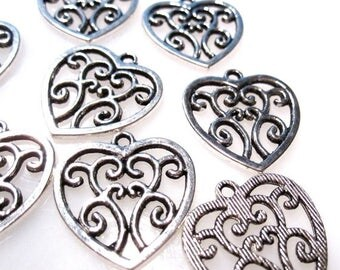 50% Off Filigree Heart Charms in Antique Silver 22x21mm with top loop 30 pcs, Bulk Lot C1041 A16