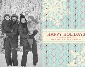 Happy Holidays Snowflake Woodblock Printable 5x7 Christmas Card with Photos