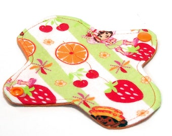 """6"""" Reusable Cloth winged ULTRATHIN Pantyliner - Strawberry Shortcake  -Cotton flannel top"""
