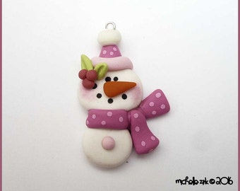 SALE Polymer Clay Winter Snowman in Pink Charm Pendant