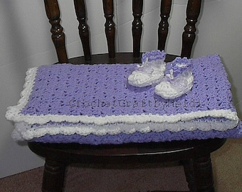 Baby Shower Gift Crocheted Blanket with Booties, Lavender/white border