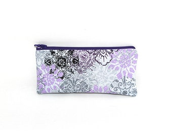 Pocket Zipper Case, Change Purse, Card Case, Coin Purse, Light Purple and Black Flowers on Gray 8734