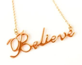 Clearance Sale Believe handwriting 10k gold plated necklace