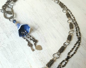 Sweet Periwinkle Silver Wire-Wrapped Necklace