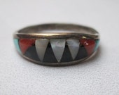 Vintage Zuni Bowannie Signed Sterling Silver, Coral, Mother of Pearl, Onyx and Turquoise Inlay Native American Ring Size 6.25  Sterling Ring