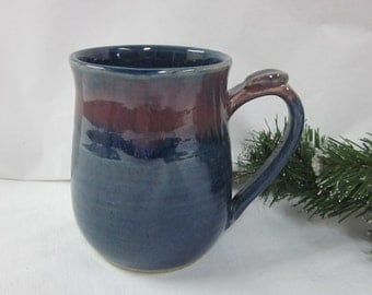 DEEP BLUE And PLUM Mug with Thumb Rest Wheel Thrown Stoneware Pottery