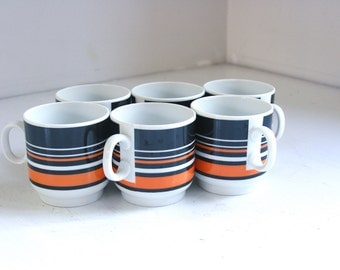 Vintage Thomas of Germany Scandic coffee cups orange and brown stripe