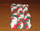 SALE Set of 3 Crocheted Corkscrew Cat Toys: 100% Cotton.  For the BEST Cats on Santa Claw's List!