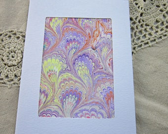 Flowing Feathers - Hand Marbled Blank Frame Card (A7)