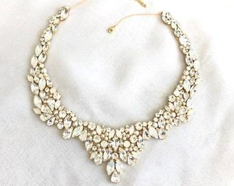 Statement wreath collar necklace, gold Rhinestone Bridal Bib Necklace, wedding Necklace, handmade rhinestone necklace, collar necklace