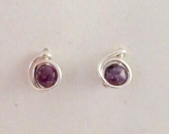 Dark Purple Lepidolite, Argentium Sterling Silver Wire posts with rubber backs