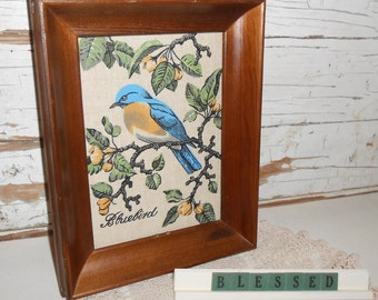 Vintage Bluebird Picture, Blessed Sign with Doilie, Vintage Bird Print