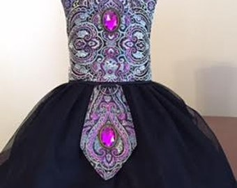 Purple / Black / Silver Brocade dress with black mesh skirt