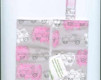 Handmade Fabric Tea Bag Wallet, SCOOTERS-Pink-Gray, Four Pockets, FREE Shipping,  Holds Tea & Sweetener - Also Travel Jewelry Wallet