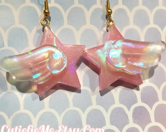 Hologram Prism Wing Star Dangle Earrings