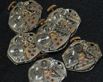 6 Vintage Watch Movements Parts Steampunk Altered Art Assemblage CD 99