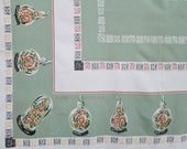 """Vintage Tablecloth Green Table Cloth Table Linens Garden State Mid Century Retro Large 60"""" x 80"""" Kitchen Dining Cottage Decor Vintage Linens"""