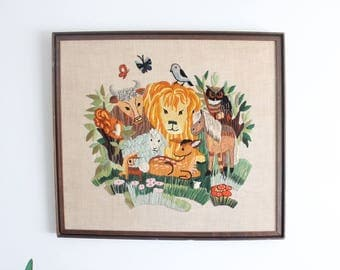 Animal Kingdom Woodland Needlepoint Embroidery - Great Nursery Decor