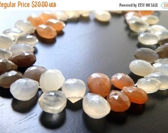 Final 51% off Sale White Moonstone Gemstone Faceted Pear TearDrop Briolette 10mm 15 beads