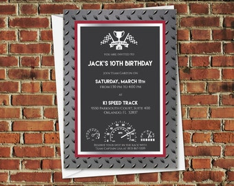 PRINTED Racer's Cup Speedway 5x7 Racing Invitation with envelope in black, gray, red, diamond plating, and chrome