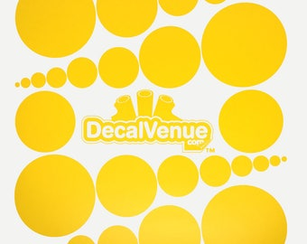 Yellow Polka Dot Circles Wall Decals - Various sizes - Mix and Match dots vinyl stickers
