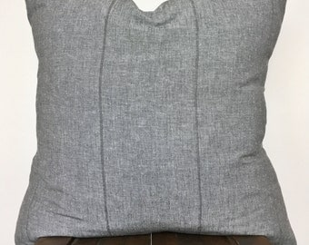 "Textured grey cotton pillow cover/22x22""/modern/farmhouse"