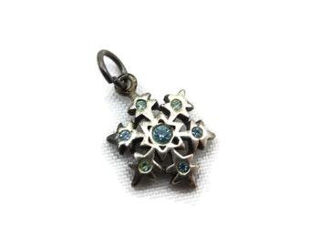Sterling Snowflake Charm - Blue Rhinestones, Silver Bracelet Charm, Winter Christmas