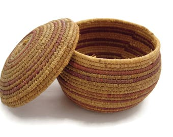 Native American Woven Lidded Basket, Coiled Wave - Small, Red Stripe