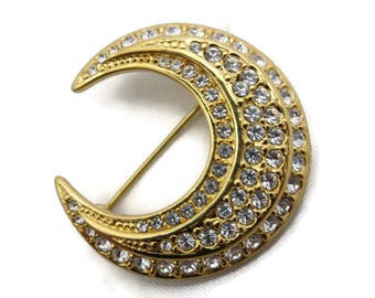 Joan Rivers Jewelry - Moon Brooch, Gold Tone Clear Rhinestone, Costume Jewelry