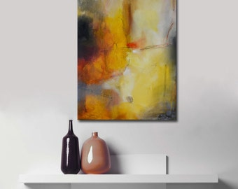 RESERVED - Abstract original Painting, yellow Acrylic painting, abstract landscape,yellow and orange painting, modern painting