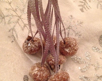 Silver Jingle Bell Acorn Ornaments with Mica Flakes Tree Decor Tie Ons