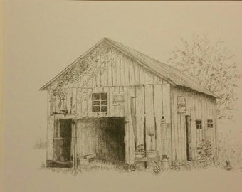 "Graphite Print, artist drawn, Charming Rural Barn in Hendricks County,IN  5""x7"" matted print"